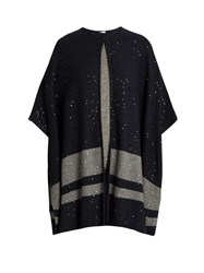 Brunello Cucinelli Sequin Embellished Cashmere Poncho Navy