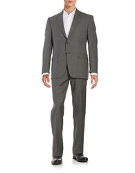 Lauren Ralph Lauren Textured Wool Two Button Suit Grey