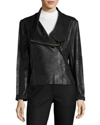 Tahari By Arthur S. Levine Faux Leather Asymmetric Zip Jacket Black