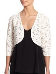 Harrison Morgan Beaded Floral Bolero Jacket White