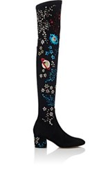 Valentino Women's Astro Couture Suede Over The Knee Boots Dark Grey