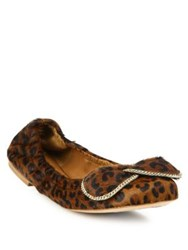 See By Chloe Clara Leopard Print Calf Hair Bow Ballet Flats Dark Brown