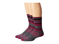 Wrightsock Adventure Crew 3 Pack Black Marl Fuchsia Stripe Crew Cut Socks Shoes Multi