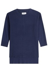 Frame Denim Le Boxy Cotton Top With Silk And Cashmere Blue