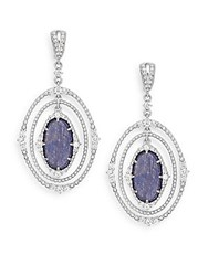 Judith Ripka Sophia Navy Sapphire White Sapphire And Sterling Silver Layered Drop Earrings