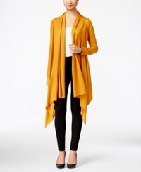 Cable And Gauge Multi Wrap Open Front Cardigan Inca Gold