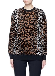 Stella Mccartney Cheetah Jacquard Wool Blend Sweater Animal Print Multi Colour