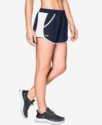Under Armour Fly By Colorblocked Shorts Midnight Navy White