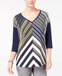 Tommy Hilfiger Shiloh Chevron Print Top Olive Night Print