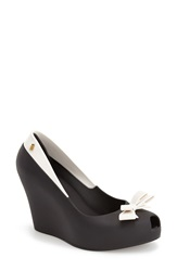 Melissa 'Queen' Peep Toe Wedge Pump Women Black
