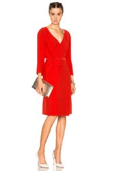 Nina Ricci Long Sleeve Wrap Dress In Red