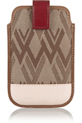 Valentino Leather Trimmed Jacquard Phone Case