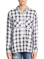 Saks Fifth Avenue Plaid Popover Shirt White Navy