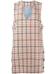 Ganni 'Duncan' Check Dress Nude And Neutrals