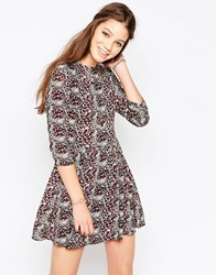 Glamorous Ditsy Print Long Sleeve Skater Dress Sand Pink Leopard Multi