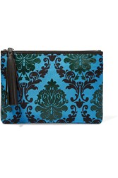 Mary Katrantzou Jacquard And Leather Clutch Blue