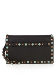 Valentino Rockstud Rolling Small Leather Clutch Black