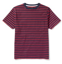 Beams Plus Slim Fit Striped Cotton T Shirt Red