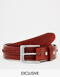 Reclaimed Vintage Woven Leather Belt Tan