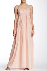 Champagne And Strawberry Crocheted Bodice Maxi Dress Pink