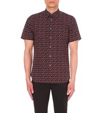 Paul Smith Tailored Fit Rose Print Cotton Shirt Navy