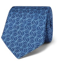 Turnbull And Asser 8Cm Silk Jacquard Tie Blue
