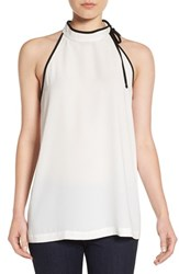 Pleione Women's Tie Neck Sleeveless Top Ivory Black
