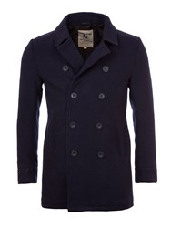 Garcia Wool Blend Double Breasted Pea Coat Navy