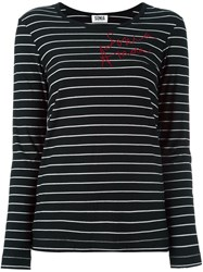Sonia Rykiel By Embellished Striped T Shirt Black