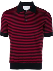 Gucci Striped Cashmere Polo Shirt Red Ink Blue Pearl