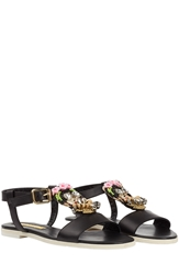 Rupert Sanderson Cara Frida Embellished Leather Sandals