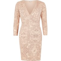 River Island Womens Pink Sparkly Plunge Bodycon Dress