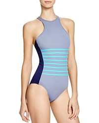 Dkny A Lister Racerfront One Piece Swimsuit Currant
