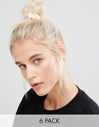 Asos Basics Pack Of 6 Knotted Mixed Hair Ties Nude Cream