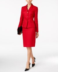Le Suit Tweed Three Button Skirt Scarlet