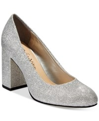 Bella Vita Nara Ii Block Heel Pumps Women's Shoes Silver Glitter