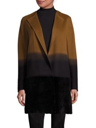 Lafayette 148 New York Shearling And Cashmere Ombre Hayes Coat Clove Multi