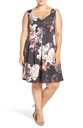 Adrianna Papell Plus Size Women's Seamed Faille Fit And Flare Dress