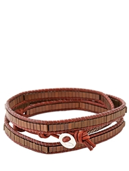Colana Leather Wrap Bracelet W Copper Hematite Brown