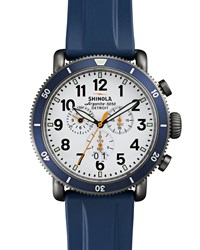 48Mm Runwell Sport Chronograph Watch With Rubber Strap Navy Shinola Silver