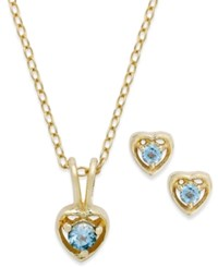 Lily Nily Children's 18K Gold Over Sterling Silver Necklace And Earrings Set December Birthstone Blue Topaz Heart Pendant And Stud Earrings Set 1 10 Ct. T.W.
