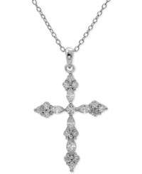 Giani Bernini Cubic Zirconia Cross Pendant Necklace In Sterling Silver Only At Macy's