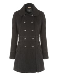 Jane Norman Black Fit And Flare Coat Black