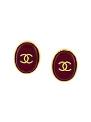 Chanel Vintage Logo Button Clip On Earrings Red