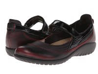 Naot Footwear Kirei Volcanic Red Leather Black Crinkle Patent Leather Women's Maryjane Shoes