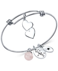 Unwritten Sisters Charm And Rose Quartz 8Mm Bangle Bracelet In Stainless Steel