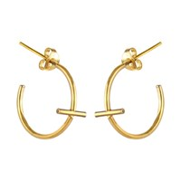 Marcia Vidal Mini Gold Cross Hoop Earrings