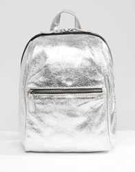 New Look Mini Leather Metallic Backpack Silver