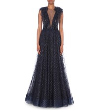 Jenny Packham Glitter Embellished Tulle Gown Abyss Blue