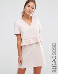 Asos Petite Short Sleeve Double Layer Ruffle Dress Blush Pink